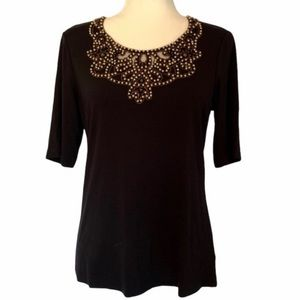 Chico's Black Gold Studded Elbow Sleeve Top